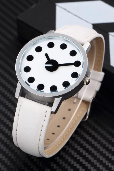 Black White Style watch face leather watch, white leather watch, leather watch, bracelet watch, vintage watch, retro watch, woman watch, lady watch, girl watch, unisex watch, AP00454