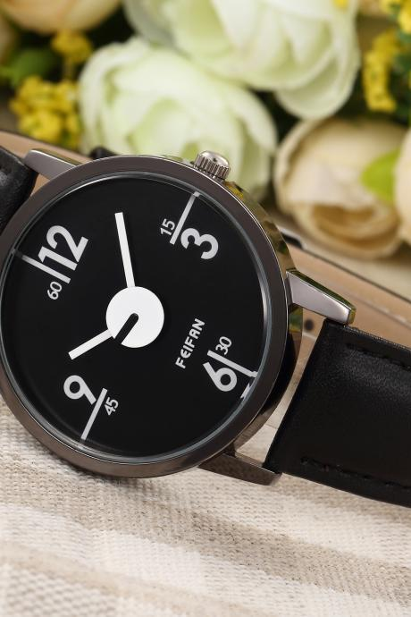 Black White Style watch face leather watch, black leather watch, leather watch, bracelet watch, vintage watch, retro watch, woman watch, lady watch, girl watch, unisex watch, AP00456