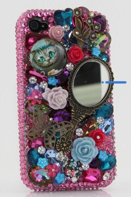 Bling Crystals Phone Case for iPhone 6 / 6s, iPhone 6 / 6s PLUS, iPhone 4, 5, 5S, 5C, Samsung Note 2, Note 3, Note 4, Galaxy S3, S4, S5, S6, S6 Edge, HTC ONE M9 (THE WONDERLAND WITH MAKEUP MIRROR DESIGN) By LuxAddiction