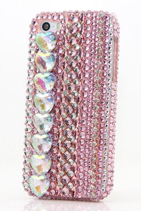Bling Crystals Phone Case for iPhone 6 / 6s, iPhone 6 / 6s PLUS, iPhone 4, 5, 5S, 5C, Samsung Note 2, Note 3, Note 4, Galaxy S3, S4, S5, S6, S6 Edge, HTC ONE M9 (PINK AB HEART STONES DESIGN) By LuxAddiction