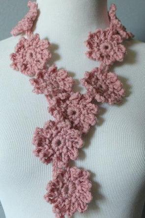 Crochet Flower Scarf Lariat Spring Fashion Dusty Pink