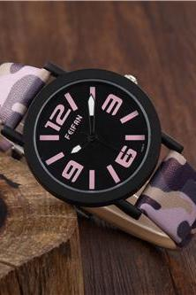 camouflage band leather watch, leather watch, bracelet watch, vintage watch, retro watch, woman watch, lady watch, girl watch, unisex watch, AP00471