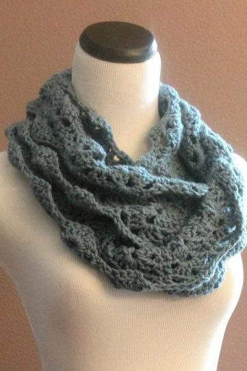 Chunky Crochet Infinity Scarf Lace Thick Cowl Neckwarmer Scarf Slate Blue