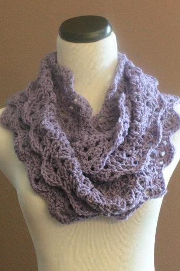 Chunky Crochet Infinity Scarf Lace Thick Cowl Neckwarmer Scarf Lavendar Purple