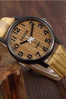 Wood pattern leather watch, Style wood pattern watch, leather watch, bracelet watch, vintage watch, retro watch, woman watch, lady watch, girl watch, unisex watch, AP00476