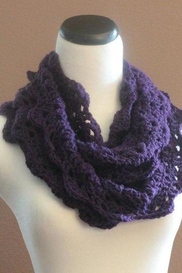 Lace Infinity Scarf Chunky Crochet Thick Cowl Neckwarmer Scarf Snood Plum Purple