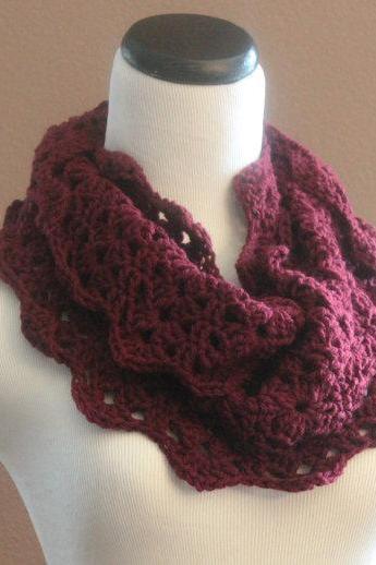 Thick Cowl Neckwarmer Chunky Crochet Lace Infinity Scarf Scarf Snood Cranberry Red