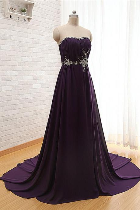 Sweetheart Purple Homecoming Dress/Purple Prom Dress/Sexy Prom Dress/Chiffon Homecoming Dress/Simple Homecoming Dress/Cheap Prom Dress/