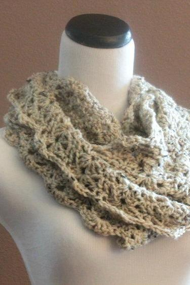 Chunky Infinity Scarf Crochet Lace Thick Cowl Neckwarmer Scarf Snood Oatmeal