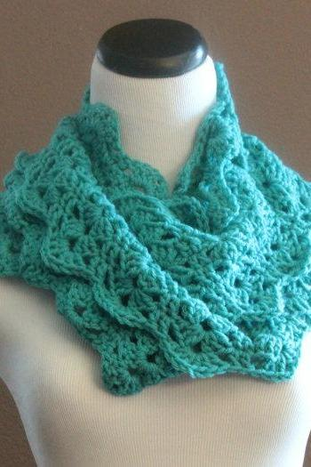 Crochet Scarf Lace Infinity Loop Thick Cowl Neckwarmer Snood Turqouise