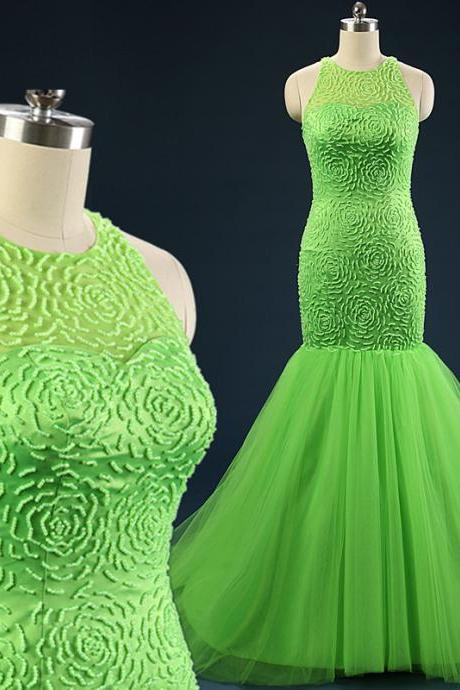 Vestido De Festa 2015 New Real Pictures Bright Green Elegant Mermaid Prom Dresses Jewel Keyhole Evening Party Dresses with Beaded