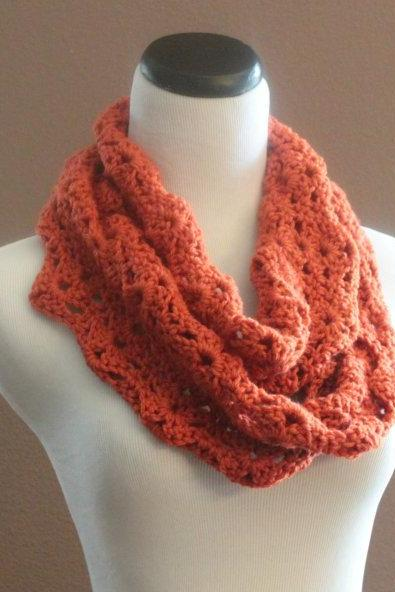 Pumkpin Spice Crochet Scarf Infinity Loop Thick Cowl Neckwarmer Scarf Snood