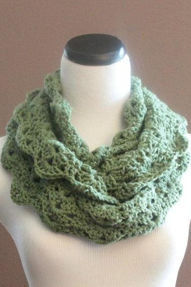 Chunky Crochet Infinity Scarf Thick Lace Cowl Neckwarmer Scarf Snood Sage Green