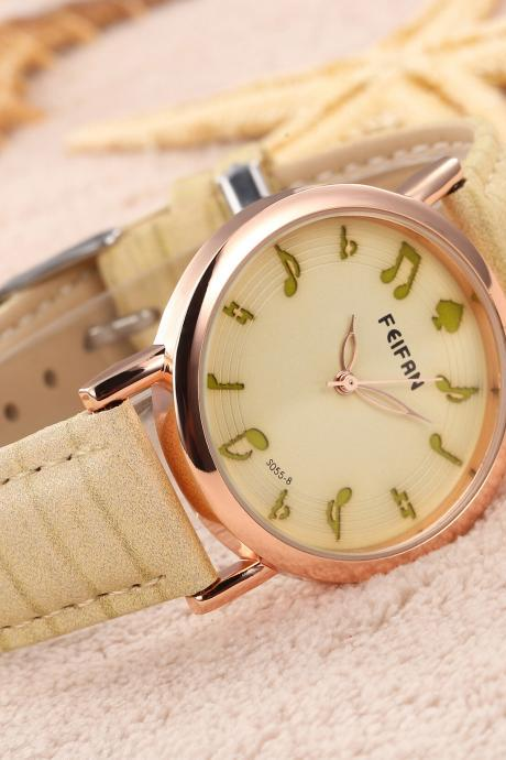 Musical note casual fashion leather watch, bracelet watch, vintage watch, retro watch, woman watch, lady watch, girl watch, unisex watch, AP00533