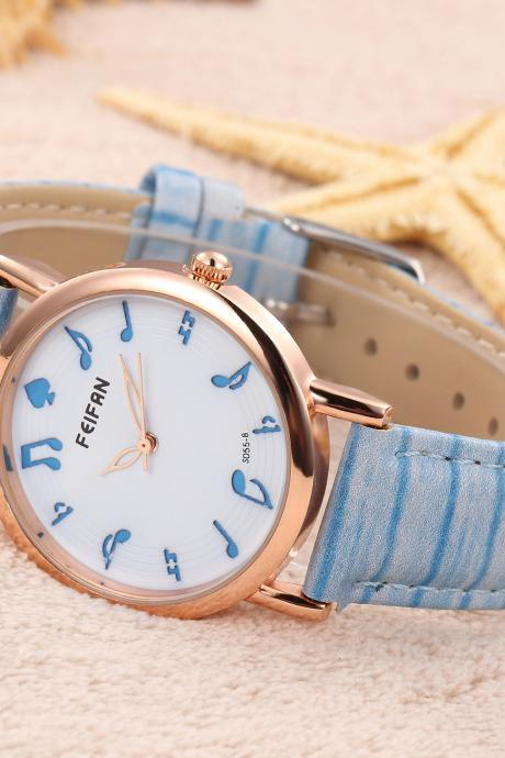Musical note casual fashion leather watch, bracelet watch, vintage watch, retro watch, woman watch, lady watch, girl watch, unisex watch, AP00536