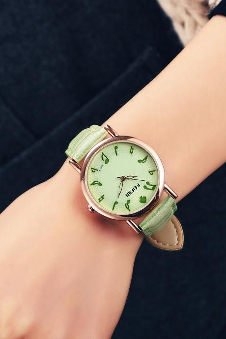 Musical note casual fashion leather watch, bracelet watch, vintage watch, retro watch, woman watch, lady watch, girl watch, unisex watch, AP00537