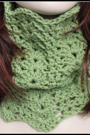 Infinity Cowl Crochet Scarf Lace Sage Green