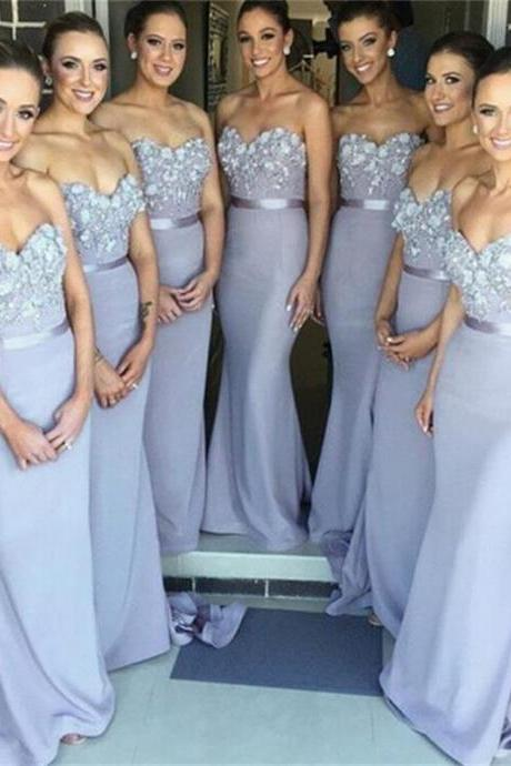 Light Grey Sheath Sweetheart Chiffon Bridesmaid dresses 2015 Bridal Dress for wedding with Appliques Bride dress