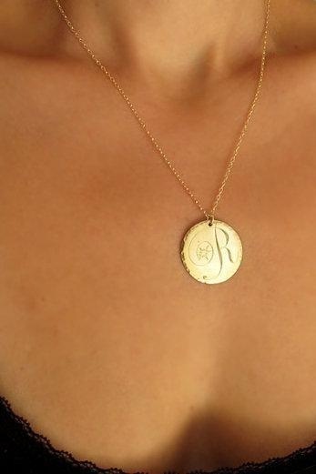 Large Gold Disc Pendant with Initial - Engraved Necklace - Romantic Jewelry - Gold Filled Necklace