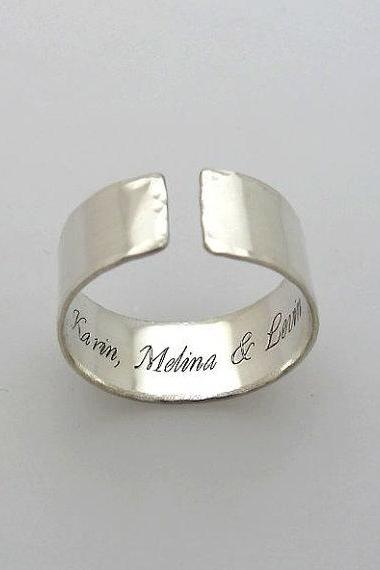 Inside Engraved Ring - Custom Ring - Personalized Band for her or him - Names Ring, Sterling Silver Band - Hidden message Ring