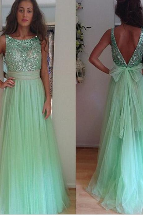 Custom made 2016 Sexy A Line Light Green Crystal Beaded Evening Dresses Long Bow Back Tulle Backless Prom Dresses Plus Size