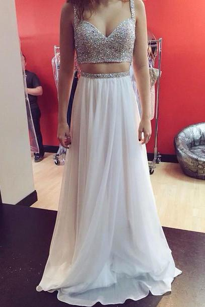 Two Pieces Chiffon Prom Dresses, Beading Evening Dresses, Prom Dresses 2015,Real Made A Line Prom Dresses On Sale,2 Pieces Evening Prom Dress