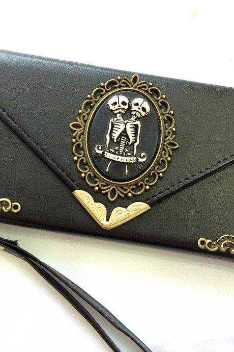 Twin Skull iphone 6 6s 4.7 leather wallet case, Vintage iphone 6 6s plus leather wallet case, item no.6