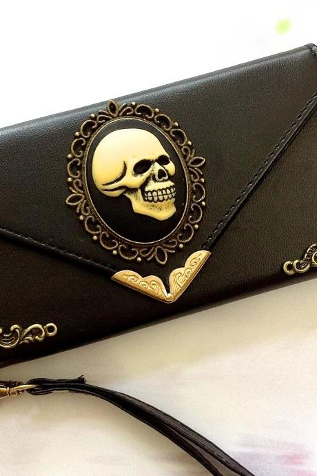 Skull iphone 6 6s 4.7 leather wallet case, Vintage iphone 6 6s plus leather wallet case, item no.152