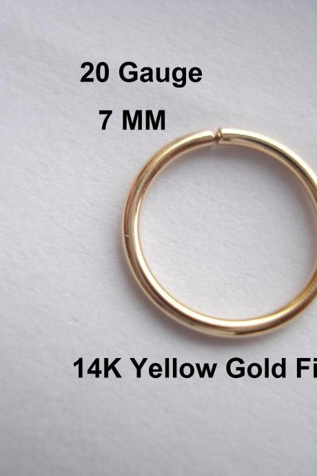 20G Gauge 14K Yellow Gold Filled, septum/Nose Ring/Hoop Helix/Earring/tragus,7 mm Inner diameter