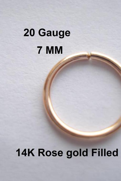20G Gauge 14K Rose gold Fille, septum/Nose Ring/Hoop Helix/Earring/tragus,7 mm Inner diameter