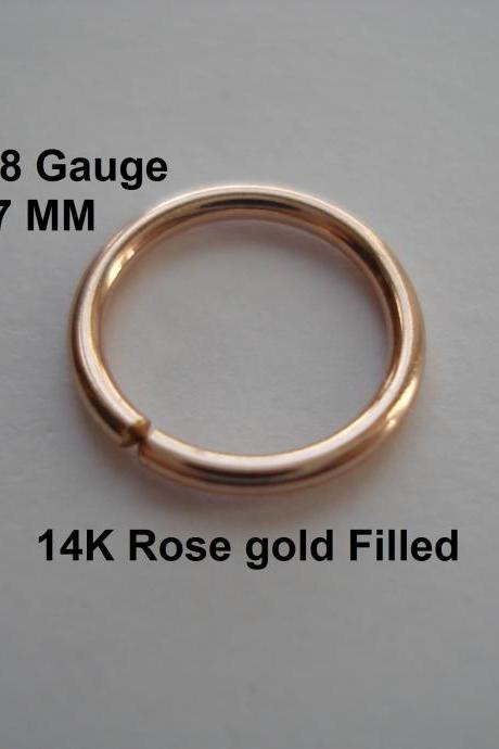 18G Gauge 14K Rose gold Filled, septum/Nose Ring/Hoop Helix/Earring/tragus,7 mm Inner diameter