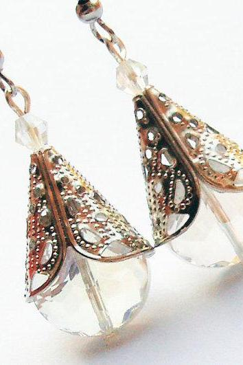 Crystal cone scepter earrings