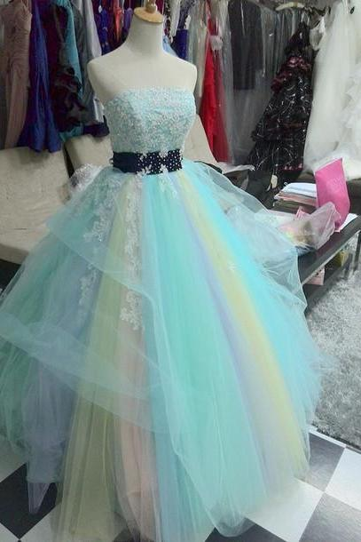 Fashion Rainbow Quinceanera Dresses for Sweeth 16 Real Ball Gown Beaded Appliques Strapless Prom Dress 2015 Wedding Dresses