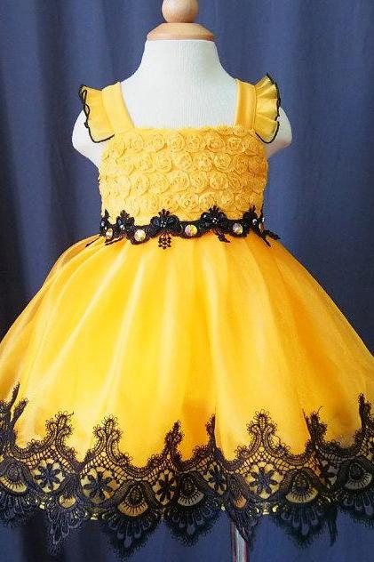 2016 Cute Yellow Ball Gown lace Appliques Flower Girl Dresses for Wedding Tea length Little Girls Pageant Dress