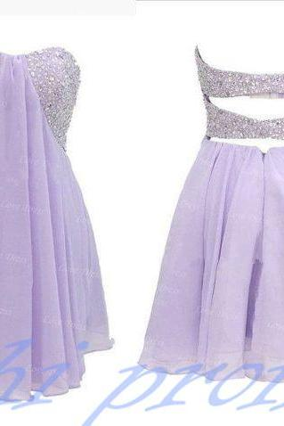 Lilac Homecoming Dress,Beading Homecoming Dresses,Chiffon Homecoming Gown,Backless Party Dress,Short Prom Dress,Sweet 16 Dress,Open Backs Homecoming Dress,Sparkly Evening Gown