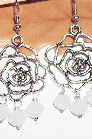 Flower crystal wire wrap earrings