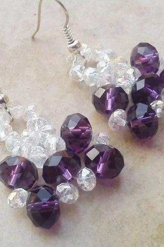 Purple crystal beadwork earrings