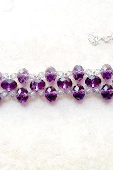 Purple crystal adjustable beadwork bracelet