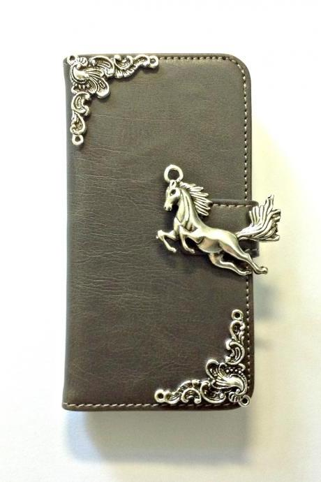 Horse iphone 6 6s 4.7 grey leather wallet case, Vintage iphone 6 6s plus leather wallet case, iphone SE, iphone 5c, 5, 5s leather wallet case, samsung galaxy S4, S5, S6, S6 Edge, S7, S7 Edge, Note 3, Note 4, Note 4 Edge, Note 5 leather wallet case, item no.3
