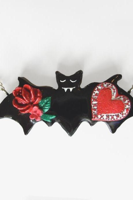 Bat with Roses and a Box of Candy Necklace
