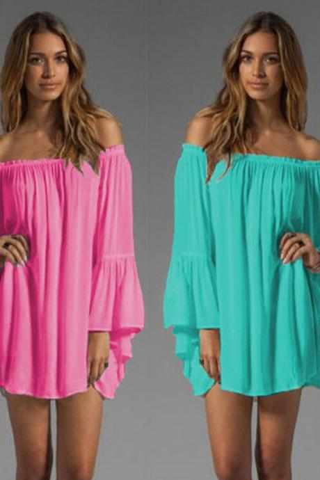 Hot Selling Chiffon Shirt Women Sexy Dress Casual Dress