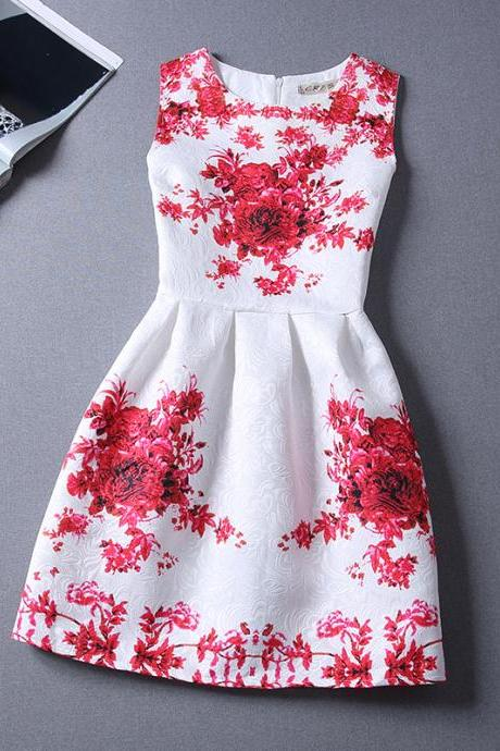 New Red Printing Pattern Sleeveless Vest Dress For Women