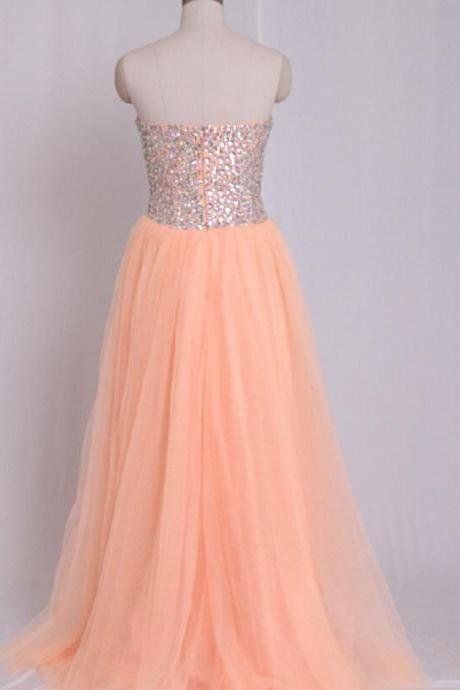 Coral Color Prom Dresses 2019 Long Sweetheart Crystal Evening Dresses Formal Gowns Women Bridal Gown Party Dress Long Prom Dress