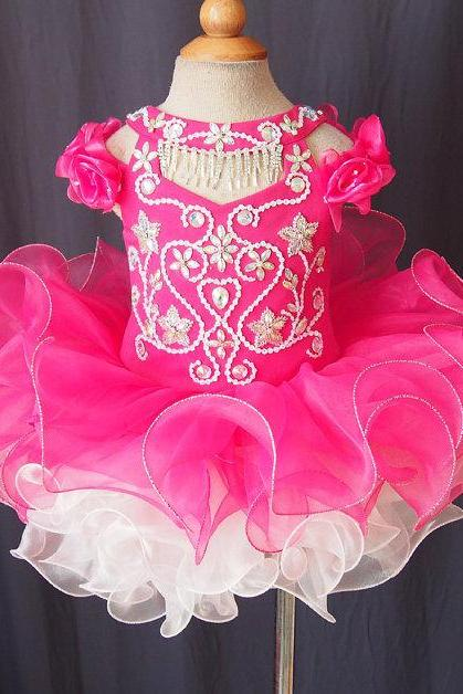 2016 Fuchsia Lovely Little Girls Cupcake Pageant Dresses Ball Gown Flower Girl Dresses with Crystals Flowers and Ruffles