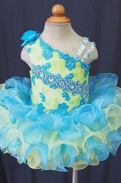 Asymmetric Neckline Beaded/Appliques Mini Cupcake Little Girl Pageant Dresses Real Image 2015 Flower girl Dress