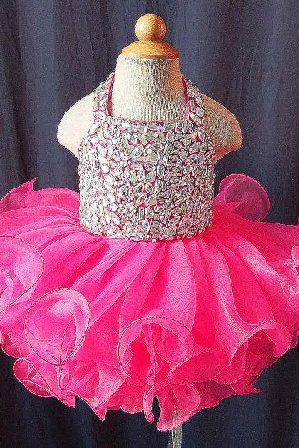 2016 Luxury Little Girls pageant Dresses with Crystals Lovely Halter Cupcake Fuchsia Flower Girl Dresses