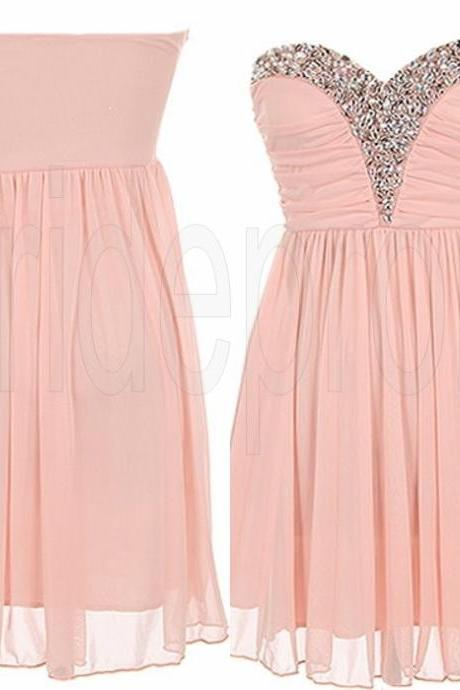 Pink Sweetheart Chiffon Sleeveless Short Prom Dress Beaded Evening Party Gown Cocktail Bridesmaid Dresses ,PPDS020