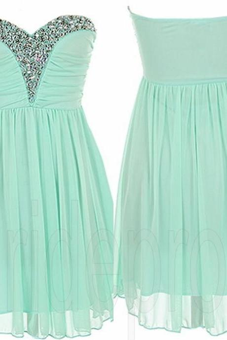 Mint Green Sweetheart Chiffon Sleeveless Short Prom Dress Beaded Evening Party Gown Cocktail Bridesmaid Dresses ,PPDS021