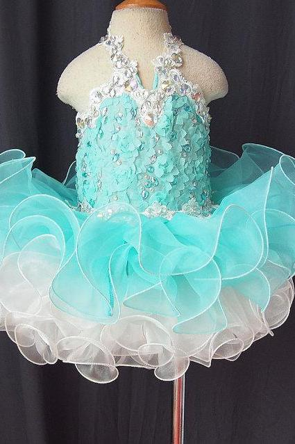 2016 Mint Green Lovely Halter Little Girls Pageant Dresses Cupcake Appliques Crystals Mini Flower Girl Dresses