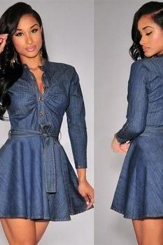 HOT BLUE LONG SLEEVE DRESS